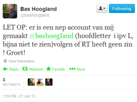 Nepaccount van Bas Hoogland op Twitter