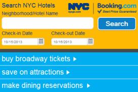 Booking.com boekingskanaal van toerismesite New York