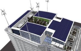 Windturbines op dak van Hilton