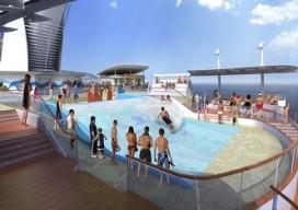 Surfen op grootste cruiseschip ter wereld