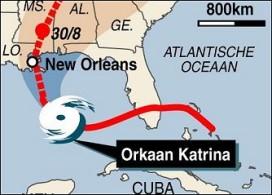 Stormloop op motels door orkaan Katrina