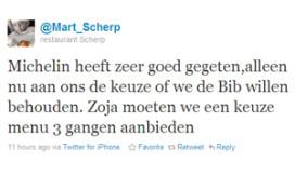Mart Scherp twittert over bezoek Michelin