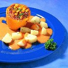 Paprika gevuld met kaas en rijst