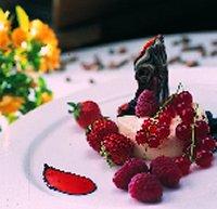 Yoghurtbavarois met rode bessen en rood zomerfruit