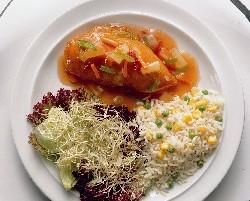 Kipfilet met tomatensaus en paprika
