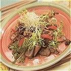 Paddestoelensalade met gemarineerde lamsfilet