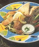 Kleine kaart gerechten/broodgerechten met zalm