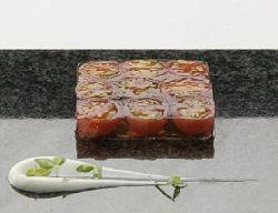 Terrine van Westlandse tomaten met yoghurt en limoen (Niven Kunz)