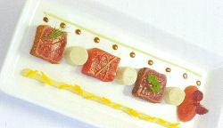 Tonijn op drie manieren met soja-wasabi marshmallow (Peter Lute)