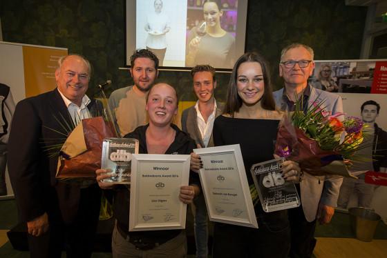 V.l.n.r. John Beeren, Menno Post, Lisa Olgers, Maarten Koelink, Deborah van Breugel en Peter Bruins. Tijdens de Bokkedoorns Awards 2016