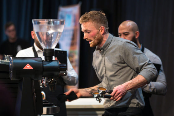 AMSTERDAM, 10 Maart 2018: Het Amsterdams Coffee Festival 2018, met de finale van het Nederlands Barista Kampioenschap. Op deze foto: de kampioen 2018 Lex Wenneker. © SEBASTIAAN ROZENDAAL