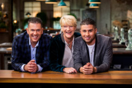 Jacob Jan Boerma, Dennis Huwaë en Margot Janse in jury NL Chef's Line