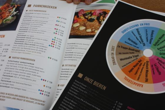 Handigheidje: een kleurwiel geeft aan welk bier goed bij welke pannenkoek zou passen.