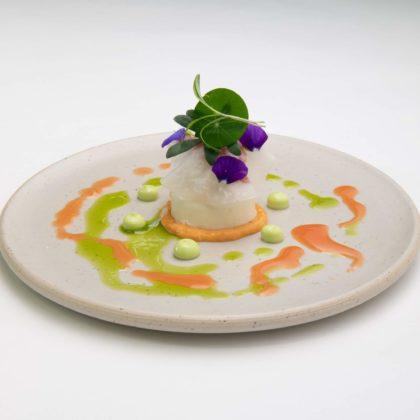 Leest noordzeekrab luchtige yoghurt ingelegde watermeloen met een vinaigrette van kokos en dille 420x420