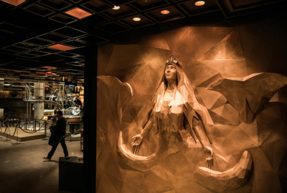 The Starbucks siren at the Reserve Roastery New York City photographed on Tuesday, December 11, 2018.  (Joshua Trujillo, Starbucks)
