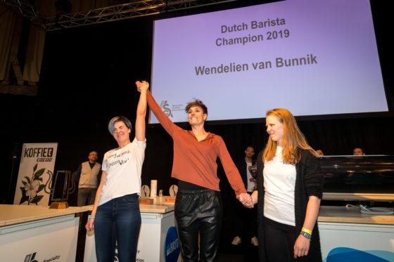 Amsterdam, 2 Maart 2019: The Amsterdam Coffee Festival. Foto van de nummers 1 en 3 (Wendelien van Bunnik en Dagmar Geerlings) tijdens The Dutch Barista Championship.  © Sebastiaan Rozendaal
