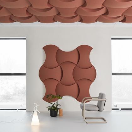 Akoestisch plafond en wandbekleding: Sky. Design is van Stafan borselius. Verkrijgbaar bij All Art Kwast in Woerden